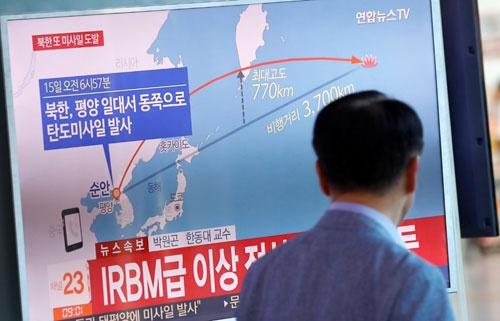 9月15日、北朝鮮が日本越えのミサイルを発射(写真:ロイター/アフロ)