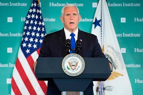 ペンス米副大統領は10月4日、対中国政策に関してハドソン研究所で講演した(写真:AFP/アフロ)