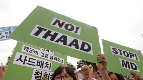 2016年7月、抗議デモが展開される中で決定したTHAAD配備だったが、韓国「離米派」の台頭で、中国が望む「配備撤回」への動きが勢いを増している(写真:AP/アフロ)