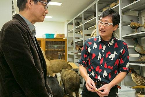 鳥の標本室に入り、ますます言葉に熱がこもる森林総合研究所主任研究員の川上和人さん。