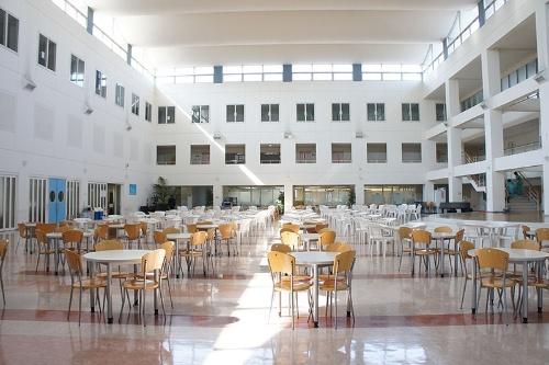 正面玄関を過ぎたところにある「アトリウム」。学生が集うオープンスペースだ。(写真提供:文京学院大学)