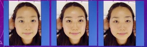 20代の女性での経年変化シミュレーション。中央が本物の写真で、左が10代のシミュレーション。右が検証のため、あえて同年代のシミュレーションをしてみた例。(提供:森島繁生)