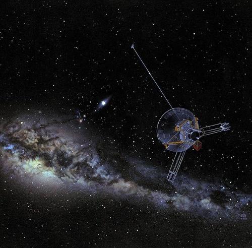太陽系を飛び出し銀河系の中心へと向かうパイオニア10号の想像図。(Image:NASA Ames)