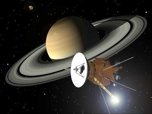 土星の周回するカッシーニの想像図。(Image:NASA)