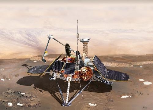 1999年12月3日に墜落したマーズ・ポーラー・ランダーの想像図。火星の南極域を調査する計画だった。 (Image:NASA/JPL/Corby Waste)
