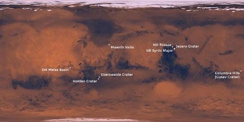 2016年9月に発表されたマーズ2020の着陸候補地点。2017年中にさらに最終候補地にまで絞り込まれる予定。(Image:NASA/JPL-Caltech)