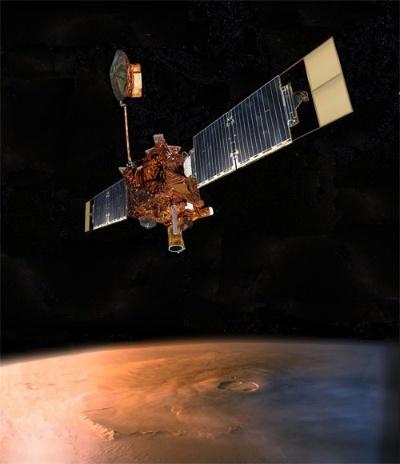 マーズ・グローバル・サーベイヤーの想像図。(Image:NASA/JPL)