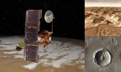 2001マーズ・オデッセイの想像図と実際に撮影した写真。(Image:NASA/JPL)
