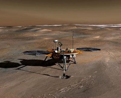 ロボットアームで土壌の調査をするフェニックス・マーズ・ランダーの想像図。(Image:NASA/JPL)
