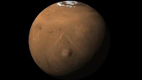 中央やや下の高まりがオリンポス山。(Image:NASA/JPL-Caltech/University of Arizona)