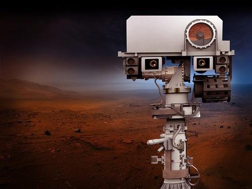 マーズ2020のマストのトップに取り付けられる高解像度カメラの想像図。(Image: NASA/JPL-Caltech)