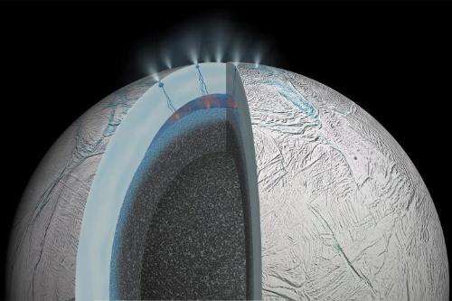 土星の衛星エンケラドスの内部構造のイメージ。発生した水蒸気が厚い氷の殻を貫いて放出される様子。(Image:NASA/JPL-CALTECH)