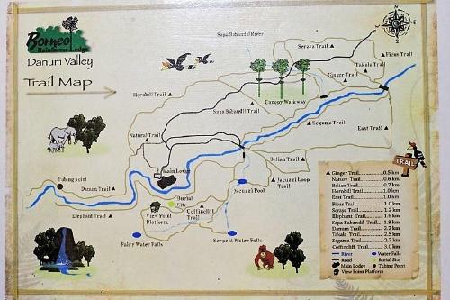 ダナムバレイの地図。森林保護区だが、一般向けのツアーも開催されている。(写真提供:川端裕人)
