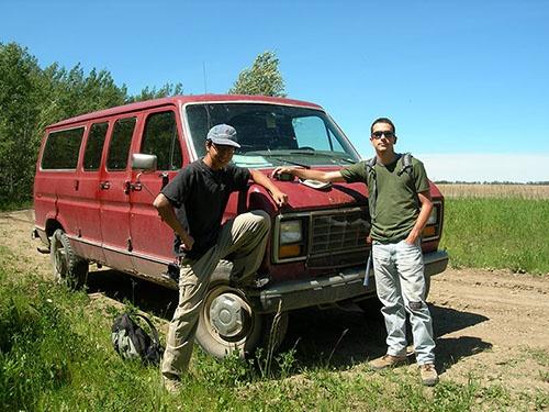 「アルバータ、化石と青春」。フェデリコ・ファンティ博士と。2007年撮影。(写真提供:宮下哲人)