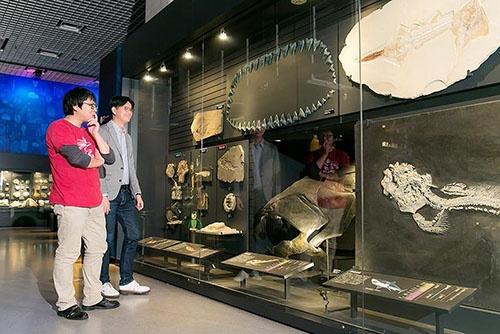 国立科学博物館の魚の化石を前で、その進化の不思議について説明してくれた。宮下さんは2016年夏に開催された特別展「海のハンター展」の脊椎動物の顎の進化の展示にも協力していた。(撮影協力:国立科学博物館)