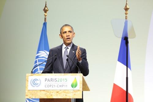 「米国は地球温暖化を引き起こした者として、なすべきことをする」とCOP21開幕で話した米オバマ大統領。パリ協定への早期の批准に意欲を見せる(写真:UNFCCC)