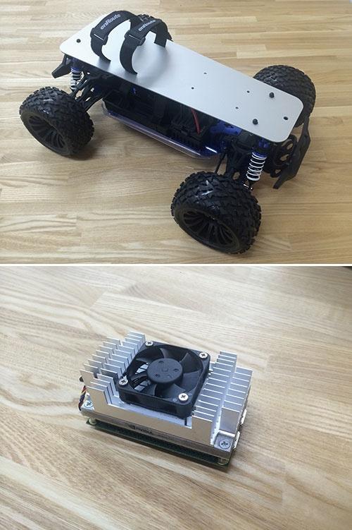 「AI TOY(アイトーイ)」での販売を予定している車両タイプの無人機(上)。AIを搭載するコンピューター(下)