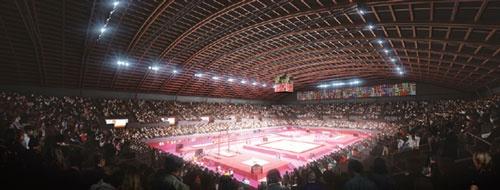 東京都有明に建設される東京五輪の体操競技場のイメージ図。建物に使用する木材の調達基準が五輪組織委員会から発表されると、「本当に持続可能性を担保できるのか」という疑問の声が上がった。日本のお家芸である体操の選手たちが見上げる天井には、世界に誇れる持続可能な木材の活用が望まれる。<br />提供:Tokyo 2020、2016年3月時点のイメージ図