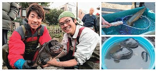 東京都内にある池の水を抜いたら巨大なスッポンが出現(左)。外来種のアリゲーターガー(右上)や在来種のヌマガイ(右下)など、想像もしなかったような珍しい生き物が池の底に潜んでいた ©テレビ東京