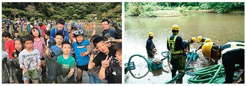 「水抜き」には地元住民が大勢集まる(左)。数時間かけて大量の水を抜くのは専門業者の仕事だ(右)<br /> 次回放送:『緊急SOS!池の水ぜんぶ抜く大作戦5』(テレビ東京系列) 11月26日(日) 夜7:54~ &copy;テレビ東京