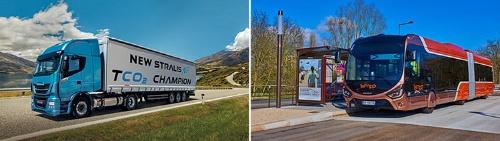 1回の充填で1500kmの航続距離を確保できるイベコ社の天然ガストラック「ストラリスNP」(左)と欧州の都市で導入されている天然ガス連結バス「クレアリス」(右)