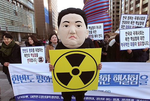 北朝鮮の「水爆実験」に抗議して、韓国の学生がデモを行った(写真:AP/アフロ)