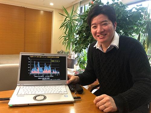 口腔ケアで肺炎などによる入院が激減したデータを示す歯科医師の瀧内博也・クロスケアデンタルCEO
