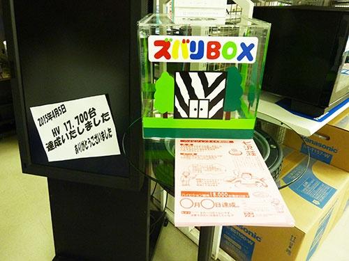 ハイビジョンクイズに参加するには店内に設置した専用ボックスに予想を書いた紙を投函する