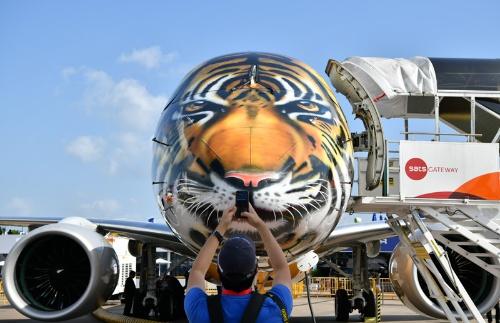 エンブラエルはシンガポールを意識して、機首に虎を描いた