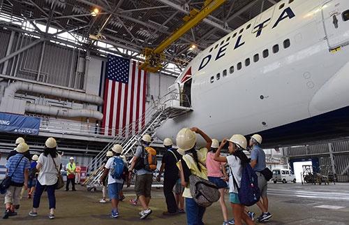 成田に格納庫を構えるデルタ航空。成田をアジアの拠点に据え、さまざまな設備を整えてきた