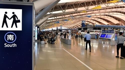 暫定運用が始まった関空第1ターミナル国際線南側エリア