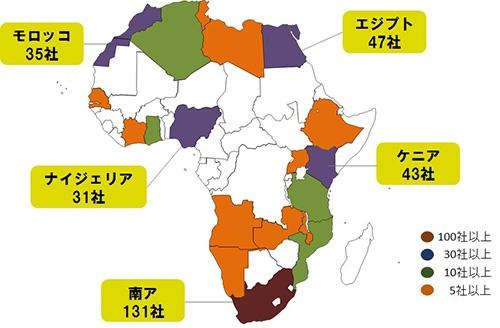 アフリカに進出している日本企業の数(拠点数)(2017年6月時点)