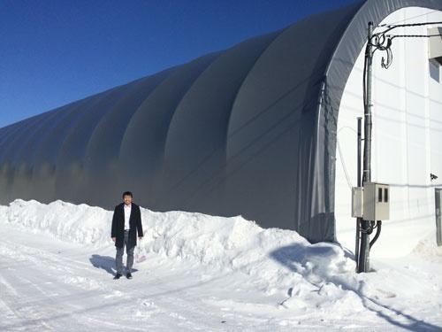 除雪の必要がない半円形の施設。(北海道本別町)