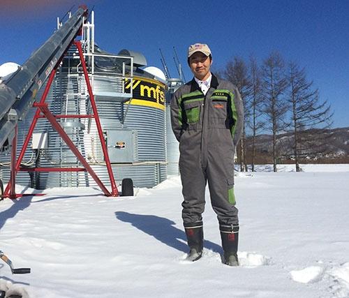 新たに導入した乾燥施設。生産拡大に備える。(北海道本別町)