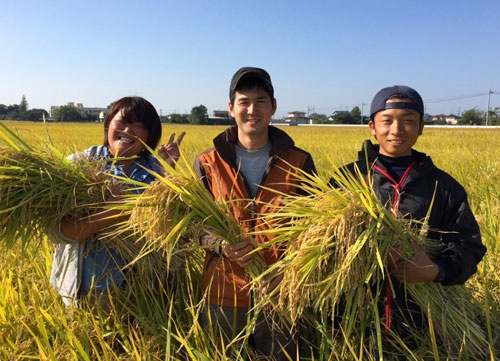 初の収穫を喜ぶスタッフ(埼玉県羽生市)=写真はイオンアグリ創造提供
