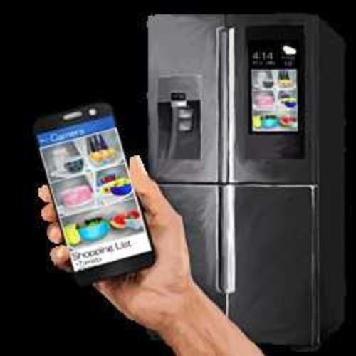 スマート家電のイメージ。冷蔵庫のタッチパネルで食材を注文する(「この国の食と私たちの仕事の未来地図」より)