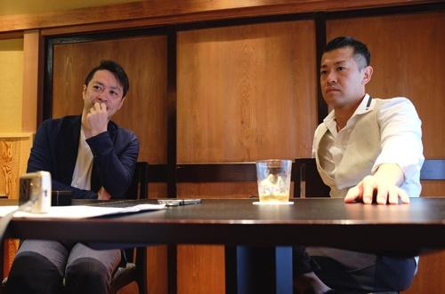 割烹「くろぎ」オーナーシェフの黒木純さん(右)と越後ファーム社長の近正宏光さん。いかに米のおいしさを伝えるか。その決意を語り合う(撮影はUNIWORX 飯田あずみ氏)