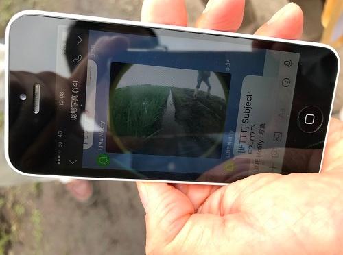 自動給水機からスマホに送られてきた画像。田んぼの様子がわかる(茨城県龍ケ崎市)