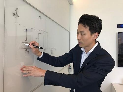 穀物生産大国の利益構造をホワイトボードで説明する山田唯人氏