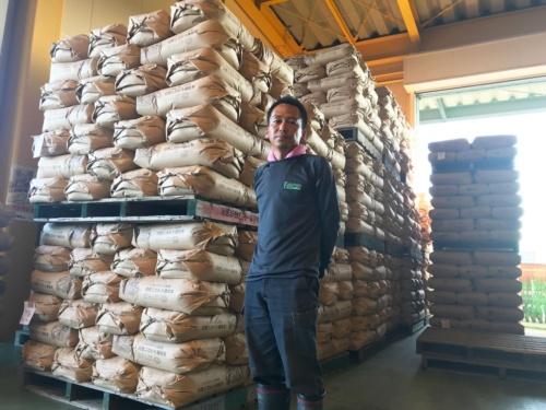 コメの乾燥・調整施設に新米がどんどん積み上げられる(滋賀県彦根市)