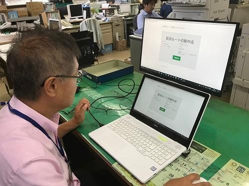 サイボウズが開発した配車システムをこれから試行する(8月31日、三浦市農協)