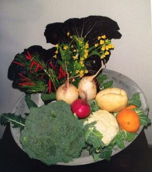 居酒屋のカウンターに置く「かご盛りの野菜」。自分の野菜を食べてもらいたいと思い、青木さんが提案した