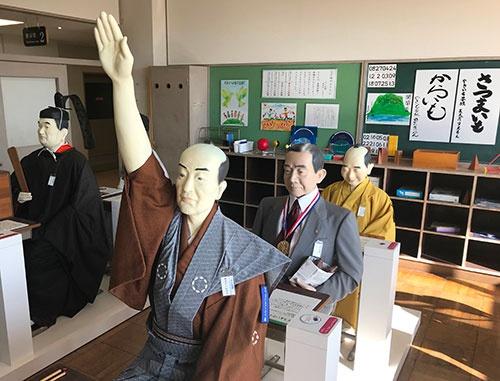 らぽっぽ なめがたファーマーズヴィレッジのミュージアムにある「サツマイモ先生」青木昆陽の人形(茨城県行方市)