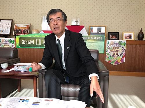 実需の要望に応えるべきだと強調するJAなめがたの棚谷保男組合長(茨城県行方市)