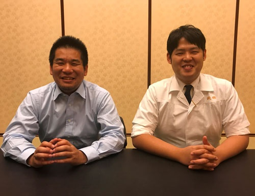 野菜の扱いで意気投合したプランツラボラトリーの湯川敦之さん(左)と醍醐の野村祐介さん(東京都港区の「醍醐」)