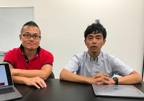 プラントデータの北川寛人社長(左)と、技術開発担当の高山弘太郎・愛媛大准教授。2人とも東大農学部出身(松山市)