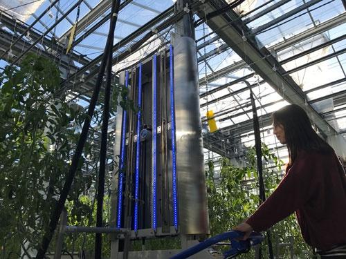 愛媛大の農場にあるクロロフィル蛍光計測のロボット(松山市)