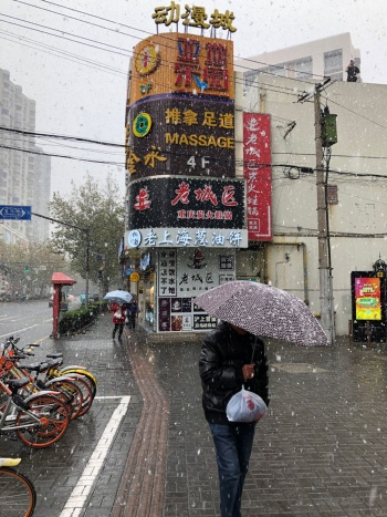 暗く寂しくなったと言われる上海の町(中山公園付近。2018年12月)