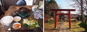 笠間ギャラリーロードにある 「cafe WASUGAZEN笠間店」(写真左)の隣には、かわいいお稲荷様のある公園が(写真右)
