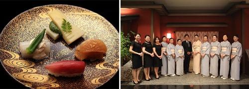 (左)法事用の料理。浅田では個人の会食や法事など、冠婚葬祭などの利用も増えている。(右)「名古屋浅田」伝統を重んじる和装だけでなく、カジュアルな洋装も取り入れている